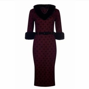 Collectif Patrice Fur Collar Sheath Dress w/ Belt